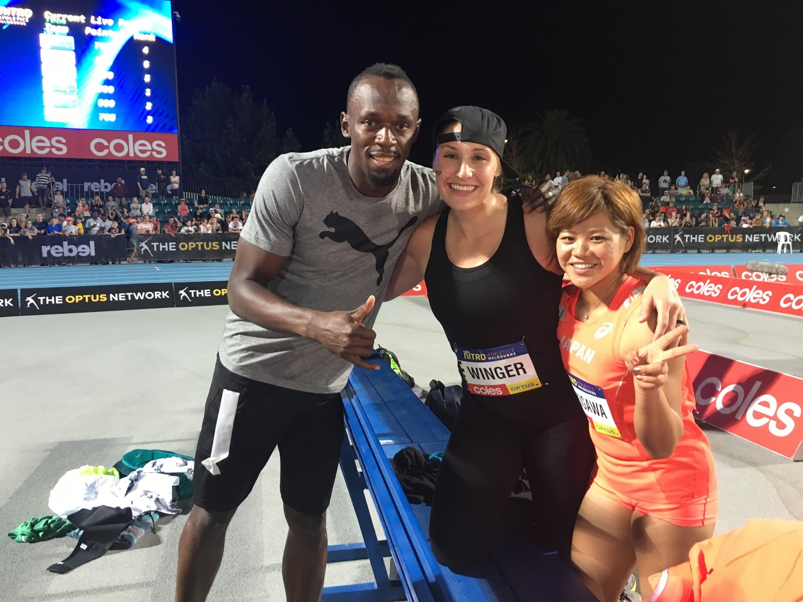 Coach/Captain Usain, me, Japanese javelin thrower Hiroko Takigawa after Night #1, Round 4 (bonus points)!