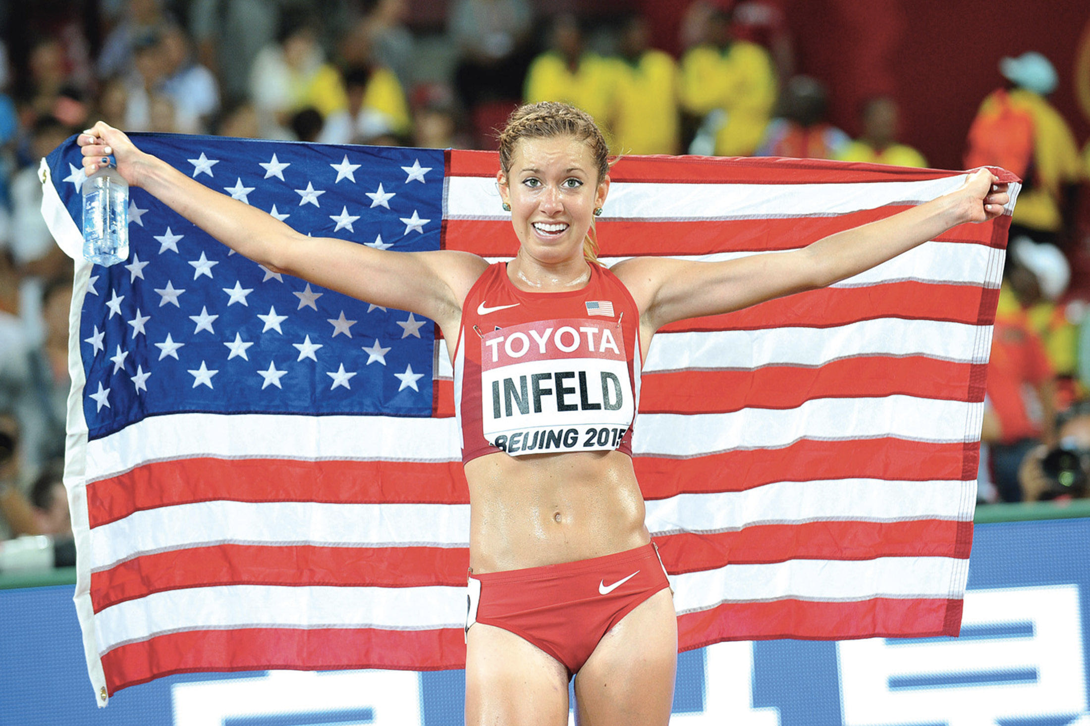 Emily Infeld is all smiles after her bronze at IAAF World Championships. Photograph: Jiro Mochizuki/PhotoRun
