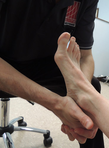 Figure 8. Squeeze test to check for a possible calcaneal stress fracture.