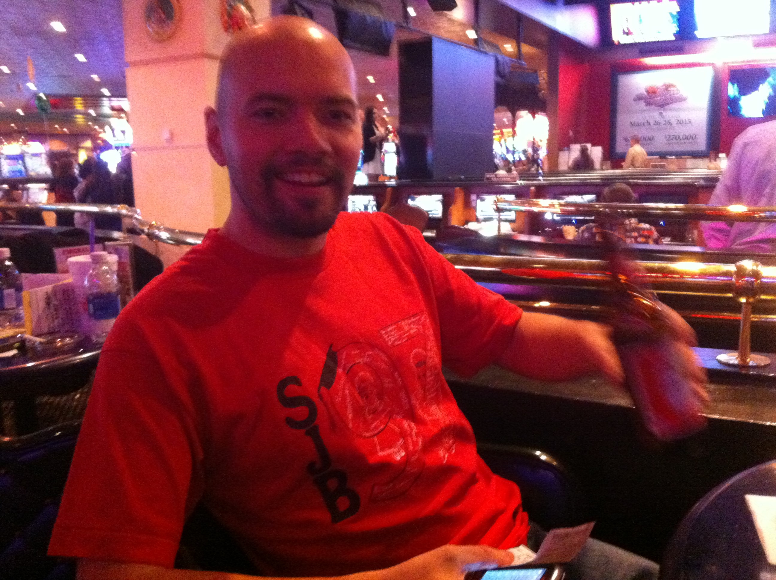 JCR, at the age of 31, on a trip we took to Vegas sporting his 8th grade  graduation shirt.