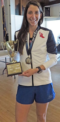 Miranda Melville won USATF 15K Women's National Race Walking Championships and the Perona Cup in Riverside California on Sunday.