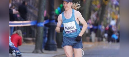 Tyler Pennel running the 2019 NYC Marathon